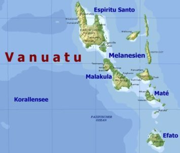 Vanuatu Inseln Map Landkarte Südsee